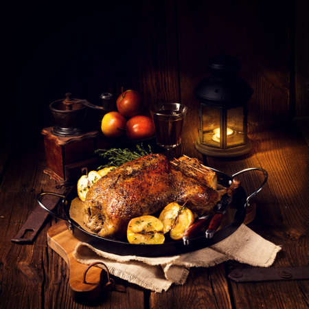 Duck on old Polish roasted with thyme and Apple Stok Fotoğraf - 75957955