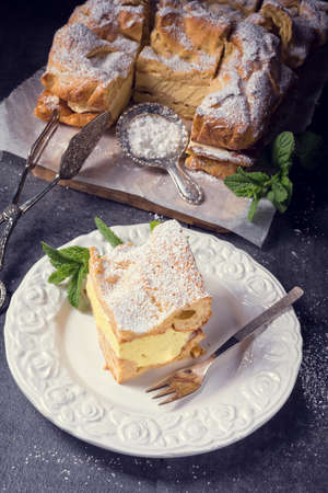 Karpatka is a traditional Polish cream pie filled with russel cream or vanilla milk pudding cream. Stock Photo