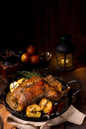 Duck on old Polish roasted with thyme and Apple Stock Photo