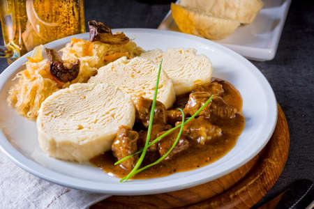Original Czech dumpling with goulash Stock Photo