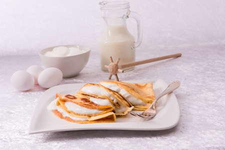 egg cake with vanillaquark Stock Photo