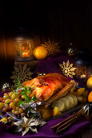 Christmas goose dinner Stock Photo