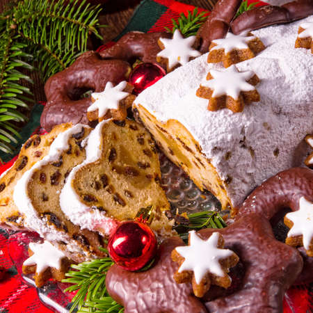 tasty Christmas Stollen Stock Photo