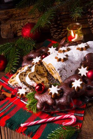 tasty Christmas Stollen Stock Photo