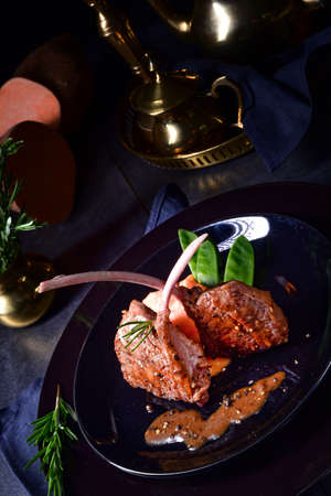 Lamb steaks with rosemary sweet potatoes