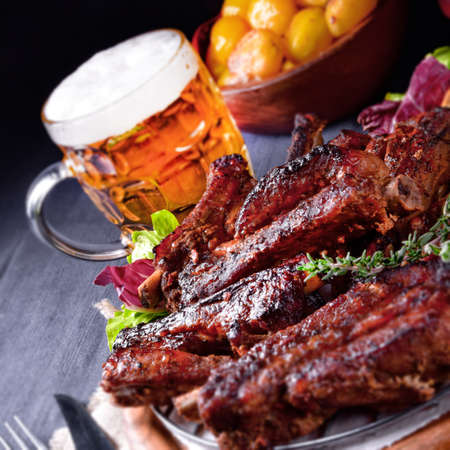 Delightful BBQ Spareribs from the Smoker Foto de archivo - 95259334