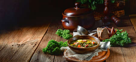 rustic kale soup with meat and sausage