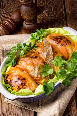 baked cabbage rolls in tomato sauce Stock Photo