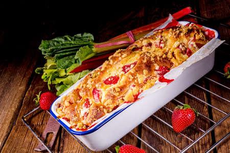 a tasty strawberry rhubarb yeast cake Stock Photo