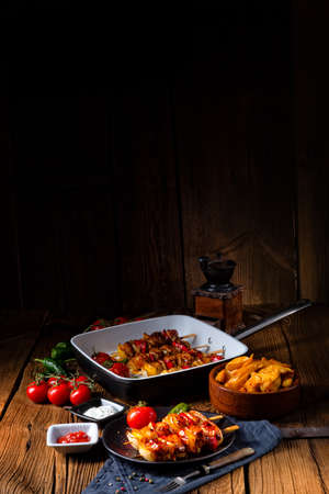 original hungarian shashlik with onion and paprika Reklamní fotografie