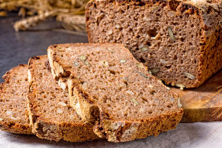 delicious and healthy home-made wholegrain bread with honey 免版税图像 - 103181858
