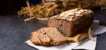 delicious and healthy home-made wholegrain bread with honey Stock Photo