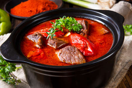 A real Hungarian goulash with beef and paprika Stock Photo