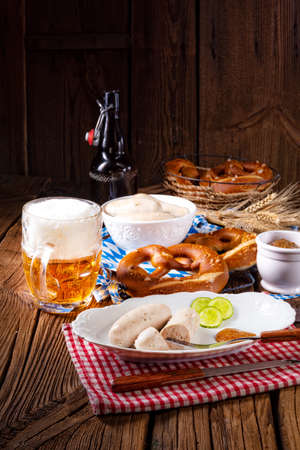 delicious bavarian oktoberfest white sausage with sweet mustard