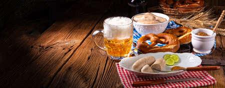 delicious bavarian oktoberfest white sausage with sweet mustard