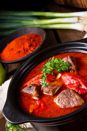 A real Hungarian goulash with beef and paprika Foto de archivo