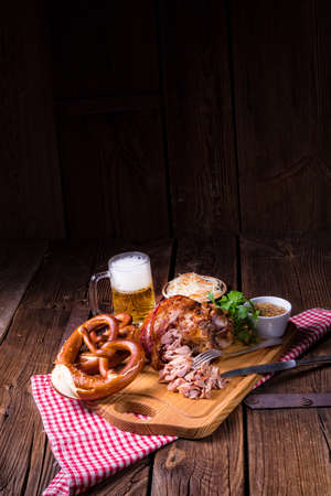 crispy fried Bavarian pork knuckle with soft meat Foto de archivo