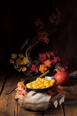 delicious autumnal dumplings with hokkaido pumpkin puree Stock Photo