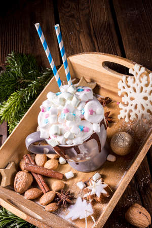 hot chocolate with colorful small marshmallows mix