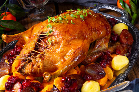 Tasty Duck roasted with thyme and Apple Stok Fotoğraf