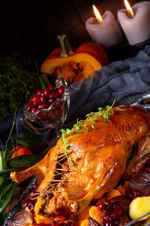 Tasty Duck roasted with thyme and Apple Stock Photo