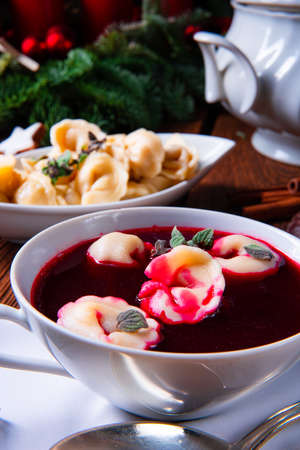 Christmas beetroot soup borscht with small dumplings
