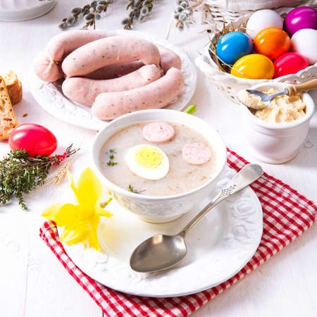 Zurek delicious easter soup after polish style Stock Photo