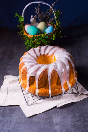 delicious easter sand cake with white cake glaze