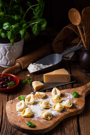 Delicious tortellini di formaggio with cheese and pepper filling