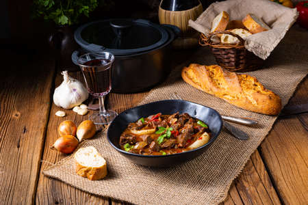 classic beef goulash with peppers and onions Stock Photo
