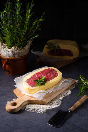 Steaks matured in butter refined with sea salt