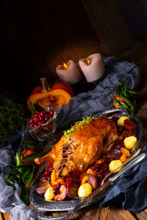 roast duck with potato dumplings and plums Stok Fotoğraf - 129312943