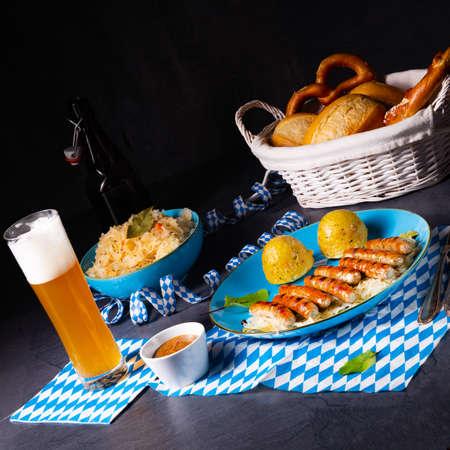 thuringian bratwurst with sauerkraut and dumplings