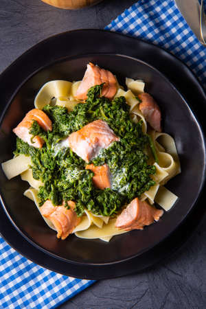 pappardelle pasta with creamed spinach and fried salmon Foto de archivo - 129789649