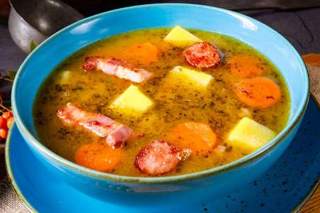 polish pea soup (grochowka) with smoked bacon and sausage Stok Fotoğraf