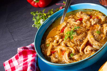 flaczki - fresh and spicy tripe soup with herbs Zdjęcie Seryjne