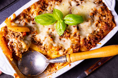 noodle , minced meat casserole with cheese Stock Photo
