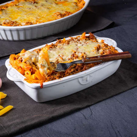 noodle , minced meat casserole with cheese Фото со стока - 134115457