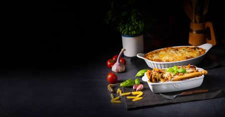 noodle , minced meat casserole with cheese Фото со стока - 134115906