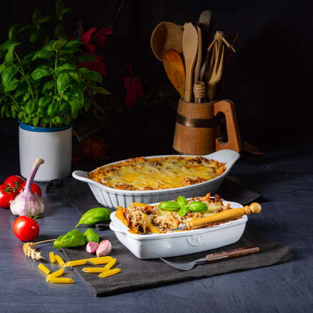 noodle , minced meat casserole with cheese Фото со стока - 134116117