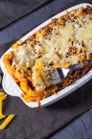 noodle , minced meat casserole with cheese Фото со стока - 134116382