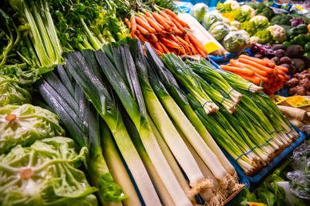 weekly market vegetables, fresh leek