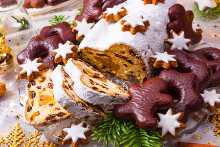 Christmas marzipan stollen with gingerbread