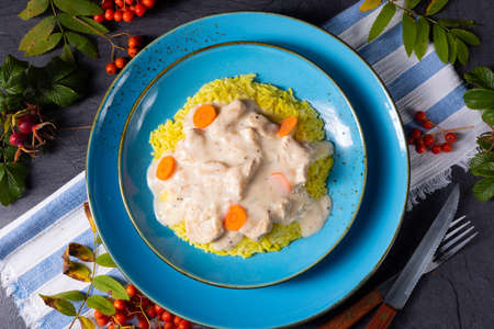 autumn curry rice with chicken breast with sauce Stock Photo