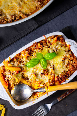 noodle , minced meat casserole with cheese Фото со стока
