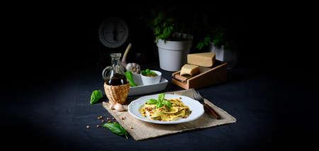 Vegetariano italiano! Tortelli with roasted pine nuts and pesto basilico