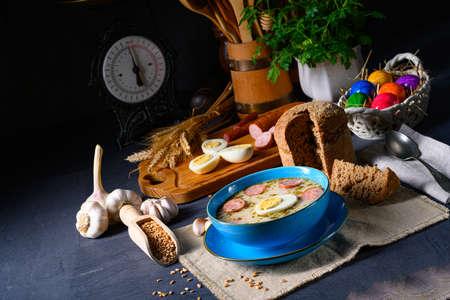 Easter in Polish: sour flour soup for Easter breakfast (Å»urek) Zdjęcie Seryjne