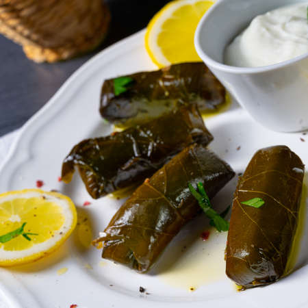 Dolmades - stuffed grape leaves the Greek way Imagens