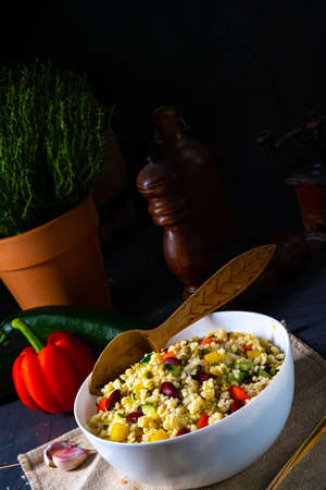 bulgur kaszotto with fresh vegetables and kidney bean 写真素材