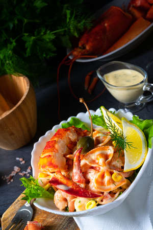 Lobster - crab salad with pasta Stock Photo